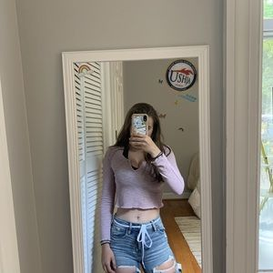 Long sleeve pink crop